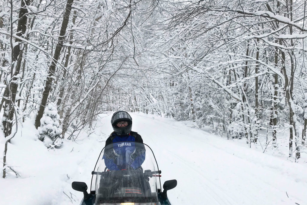 A rider on a snow covered trailed surrounded by snow capped trees